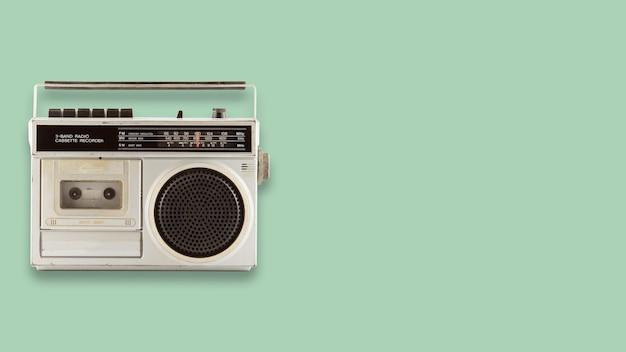 Radio and cassette recorder. retro technology.