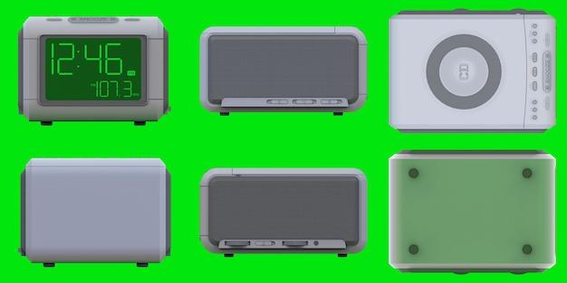 Radio clock-alarm clock on an green background. 3d rendering.