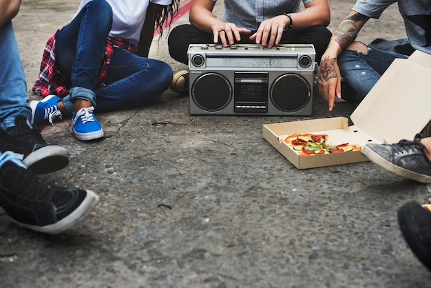 Radio music friends unity style teens casual concept