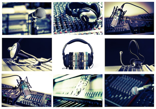 Radio, recording studio collage