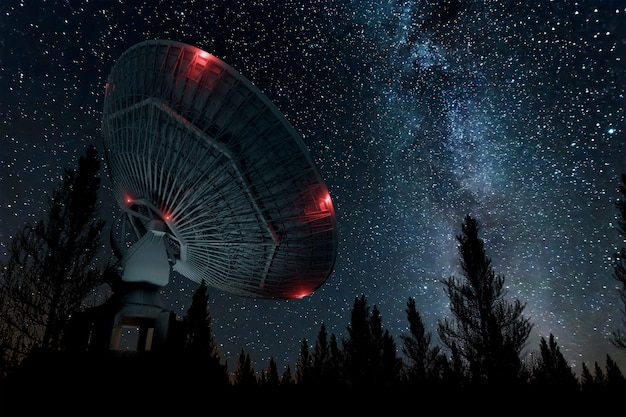 Radio telescope, a large satellite dish against the night sky tracks the stars. technology concept, search for extraterrestrial life, wiretap of space. mixed medium, copy space.