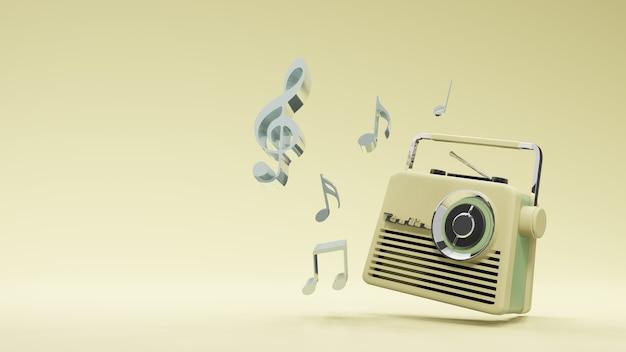 Винтажный дизайн радио, 3d-рендеринг