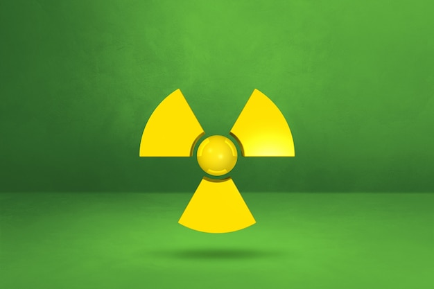 Radioactive symbol isolated on a green studio background. 3d illustration