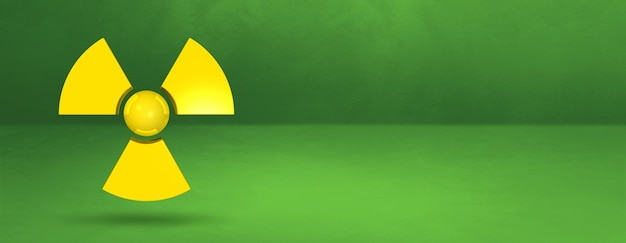 Radioactive symbol isolated on a green studio background banner. 3d illustration