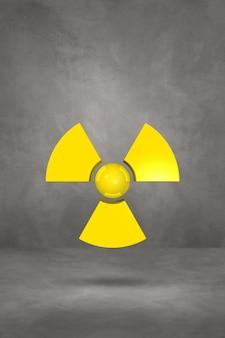 コンクリートのスタジオの背景に分離された放射性シンボル。 3dイラスト