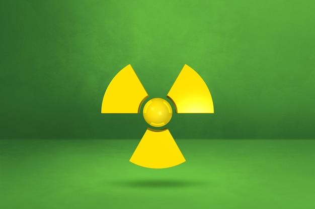 緑のスタジオの背景に分離された放射性シンボル。 3dイラスト