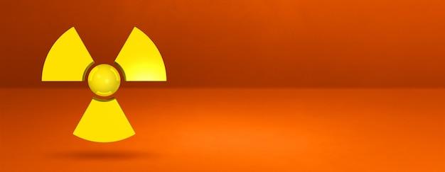 오렌지 배경에 고립 방사성 기호입니다. 3d 일러스트레이션