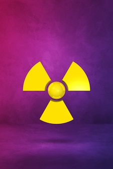 Radioactive symbol isolated on a purple wall. 3d illustration