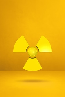 Radioactive symbol isolated on a yellow studio background. 3d illustration