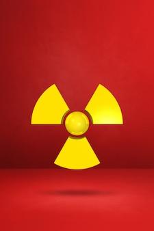 빨간 벽에 방사성 기호입니다. 3d 일러스트레이션