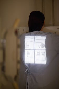 Radiography being proceed on a patient