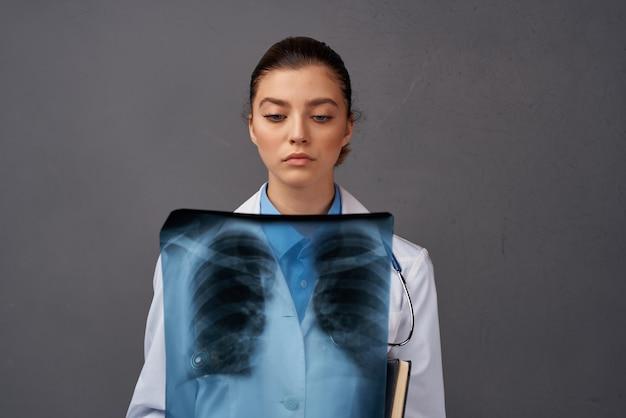 Radiologist with x-ray health care studio. high quality photo