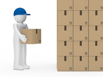 Rag doll looking at a mountain of boxes