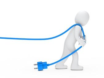 Rag doll pulling a blue wire