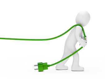 Rag doll pulling a green wire