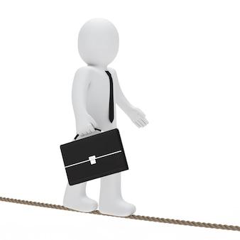Rag doll walking on a rope