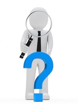 거대한 돋보기와 파란색 질문 기호가있는 헝겊 인형