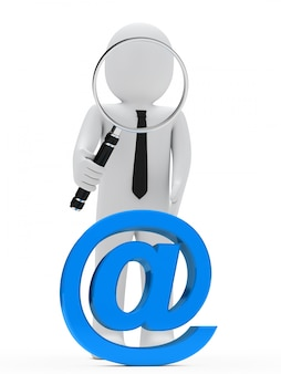 Rag doll with a giant magnifying glass looking at a blue @