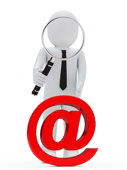 Rag doll with a giant magnifying glass looking at a red @
