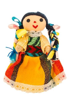Rag doll with a typical dress of mexico isolated on white background