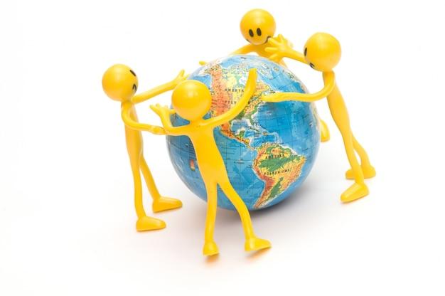 Rag dolls embracing the world
