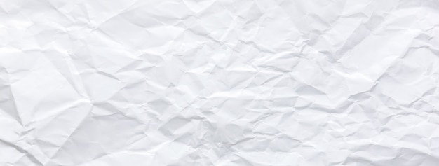 Ragged crumpled white paper texture banner background