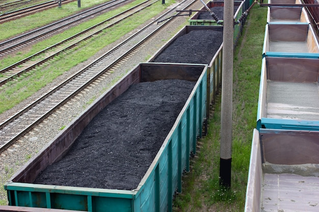 Rail cars loaded with coal. transportation of coal in commodity cars.