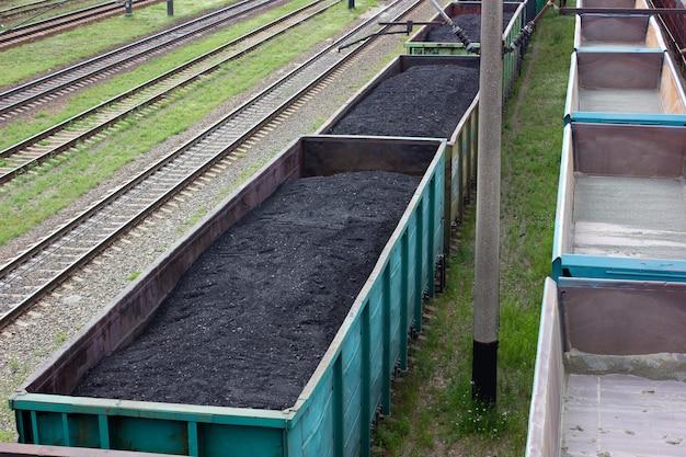 Железнодорожные вагоны, загруженные углем. перевозка угля в товарных вагонах.