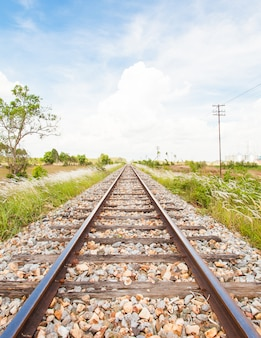 Rail way and blue clear sky in thailand