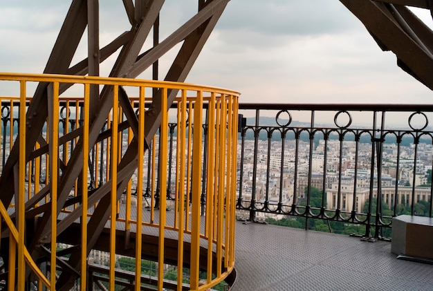 Railed walkway on eiffel tower in paris france