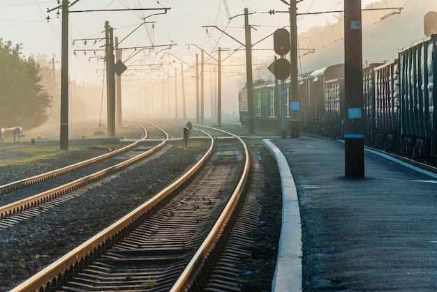 Железнодорожный переезд и поезд в утреннем тумане