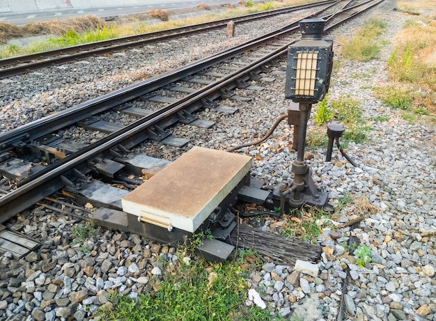 The railroad switch system for controls the direction of the railroad near the station.