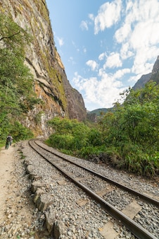 Railroad track to machu picchu along urubamba valley