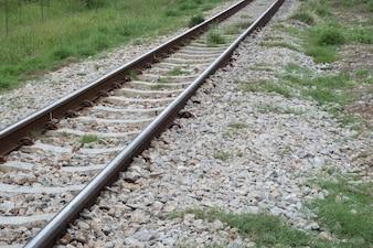 Railroad tracks and stone