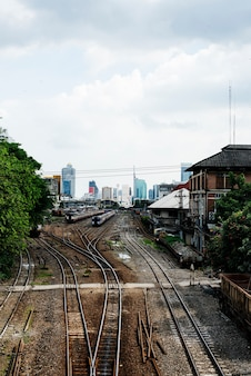 Railroad tracks at Hua Lampong station in Bangkok Thailand