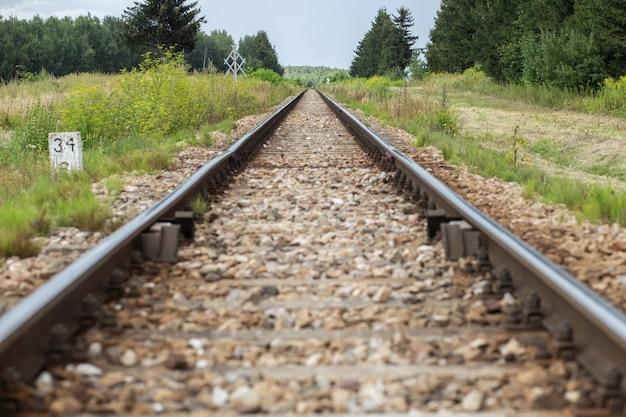 Railroad tracks on countryside