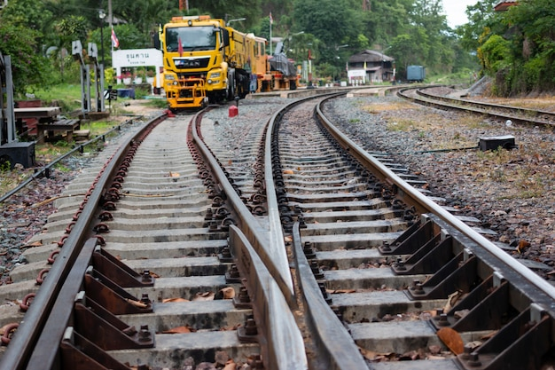 Railroad tracks or railway tunnel pass in thailand