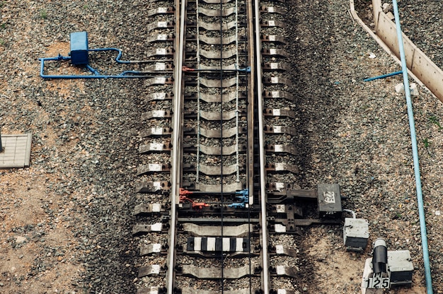 Railroad tracks, switch,  rails - top view. pattern.