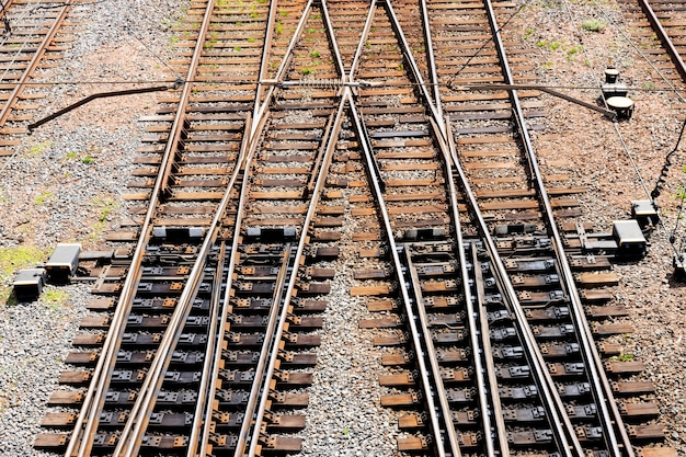 Railroad tracks and turnouts. view from above.