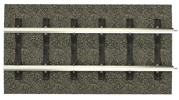 Railroad tracks with concrete sleepers. detailed image of a railway track with gravel dumping. 3d rendering