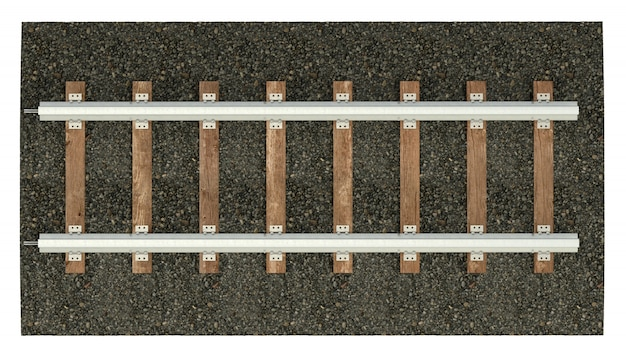 Railroad tracks with wood sleepers. detailed image of a railway track with gravel dumping. 3d rendering