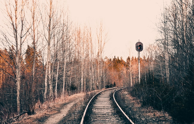 Railroad with semaphore going around the corner, art photography