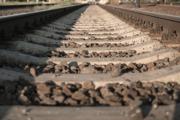 Rails. a railroad going into the distance