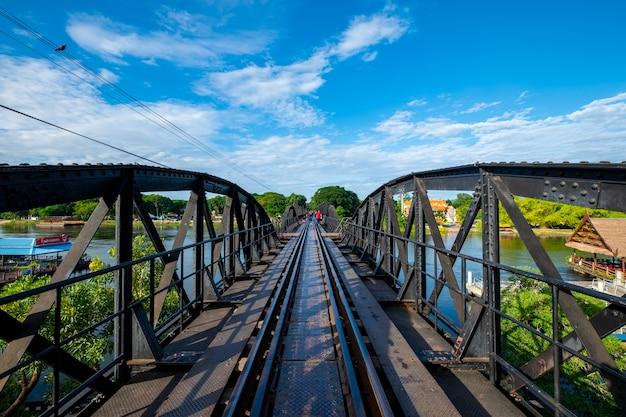 Railway bridge cross the river in kanchanaburi, thailand