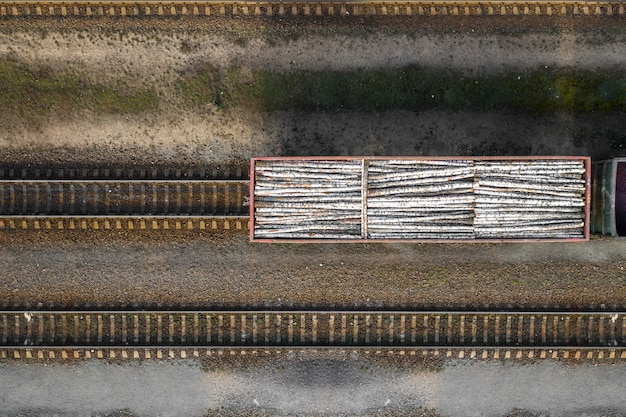 Railway car loaded with logs top view from a drone