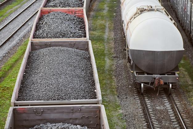 석탄을 실은 철도 화물차.