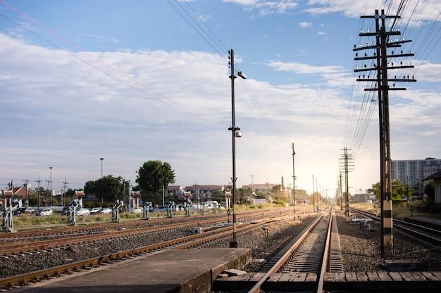 Railway corridor. double-track railway go to station.