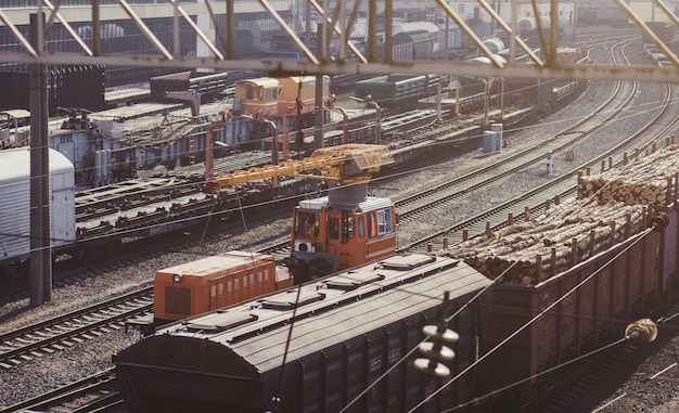 Railway depot with freight trains