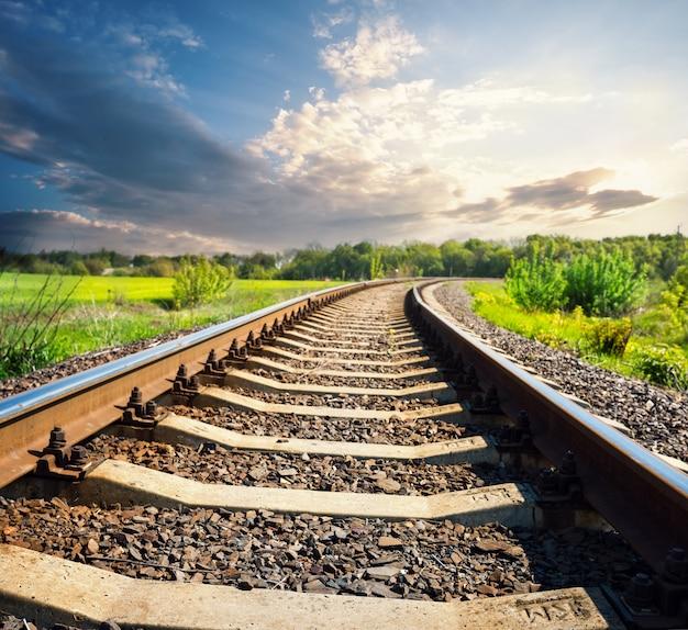Railway in green field