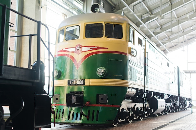 Railway museum, exhibition of ancient locomotive, trains and cars